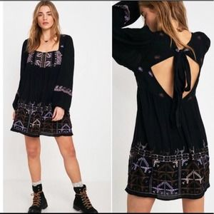Free people black embroidered dress NWT small
